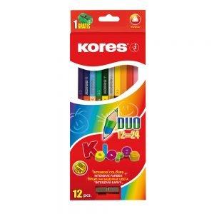 Poza Creioane colorate triunghiulare Kolores Duo
