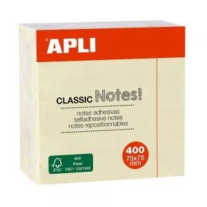Poza la Cub notite adezive Apli 75 x 75 mm 400 file galben