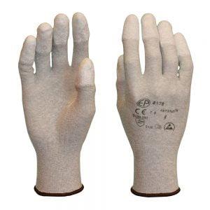 Poza la Manusi ESD albe imersate pe varful degetelor