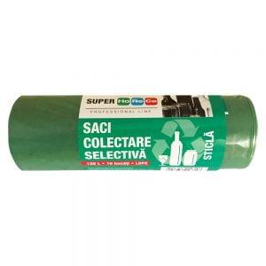 Poza la Saci menaj Horeca verzi LDPE 30 microni 110 x 70 cm 120 l 10 bucati/set