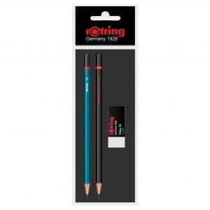 Poza la Set Rotring 2 creioane lemn HB+2B + radiera Tikky